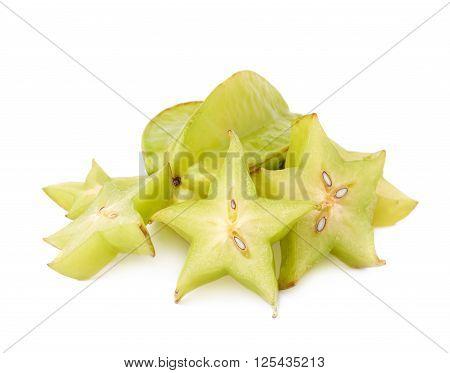 Averrhoa carambola starfruit served, composition isolated over the white background