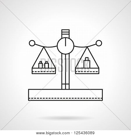 Balance or scales with weights on cups. Mass measuring. Flat line style vector icon. Single design element for website, business.