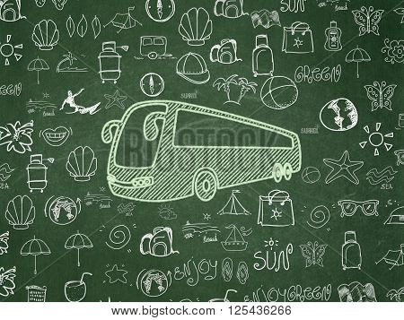 Travel concept: Bus on School board background
