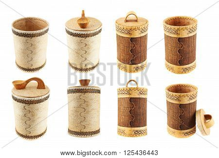 Handmade wooden cylindrical case isolated over white background, set of eight foreshortenings