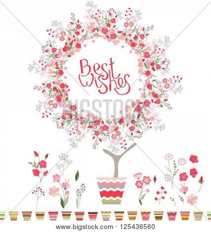 Stylized tree in cute flower pot. Topiary with roses and phrase Best Wishes.
