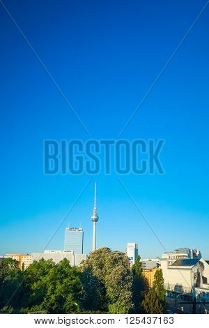 BERLIN, GERMANY- MAY 15: Tv tower or Fersehturm in Berlin on MAY 15, 2013. BERLIN, Germany.