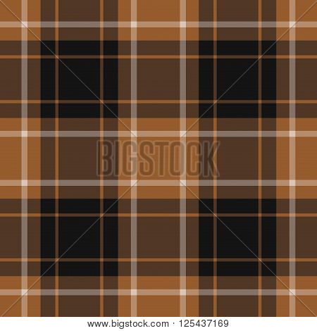 seamless illustration - brown tartan with white stripes and black squares