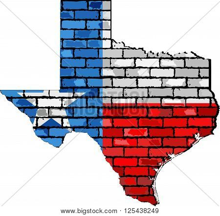Texas map on a brick wall - Illustration,  