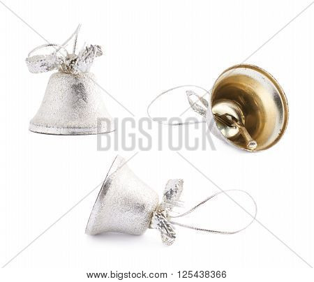 Set of three Christmas decoration silver bells isolated over the white background