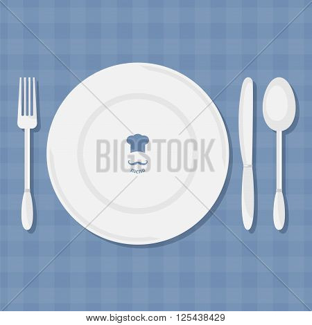 Fork knife spoon and plate with shadow. Dining etiquette. Foods Service icon. Menu card. Simple flat vector illustration EPS 10.