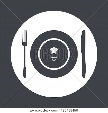 Plate knife and fork. Dining etiquette. Foods Service icon. Menu card. Simple flat vector illustration EPS 10.