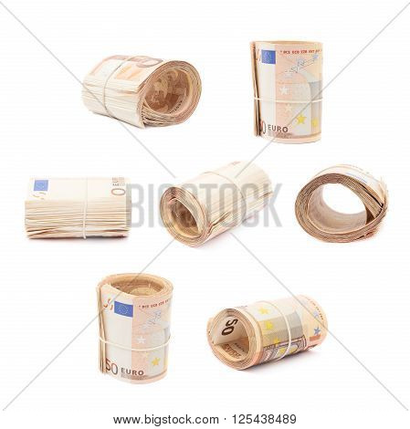 Stack of fifty euro bank notes bend in a form of tube, composition isolated over the white background, set of multiple different foreshortenings