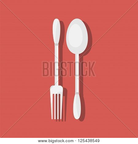 Fork and spoon with shadow. Dining etiquette. Foods Service icon. Menu card. Simple flat vector illustration EPS 10.