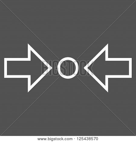 Compress Horizontal vector icon. Style is thin line icon symbol, white color, gray background.