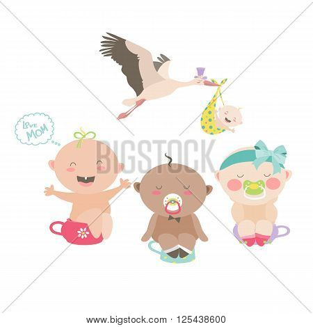 Babies are sitting on a chamber pots. Vector isolated illustration