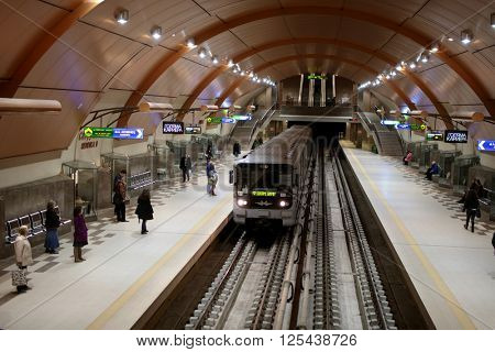 SOFIA, BULGARIA - MARCH 10, 2016: People in the Serdika station of the Sofia Metropolitan. The subway system was opened in 1998, and now has a total route length of 38.6 km