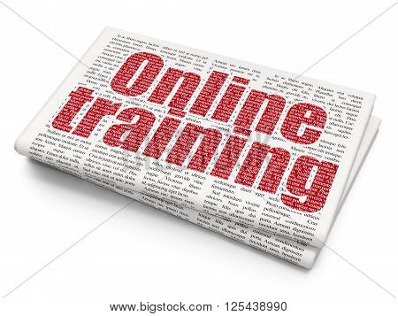 Studying concept: Online Training on Newspaper background