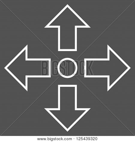 Maximize Arrows vector icon. Style is outline icon symbol, white color, gray background.