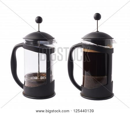 French press pot coffee maker with and without coffee, composition isolated over the white background