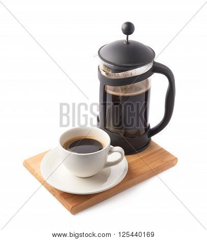 French press pot coffee maker and ceramic cup of coffee over the booden serving board, composition isolated over the white background