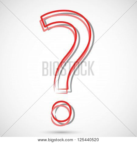 Illustrations red question mark on a white background.