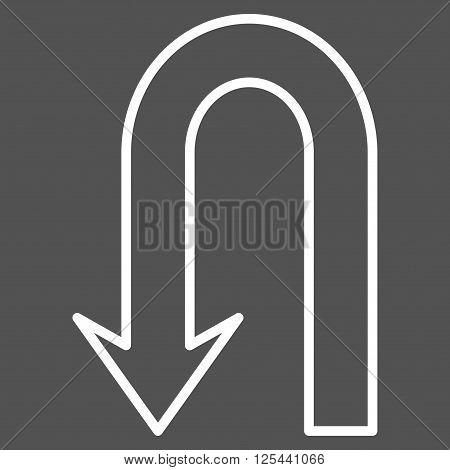 Return Arrow vector icon. Style is stroke icon symbol, white color, gray background.