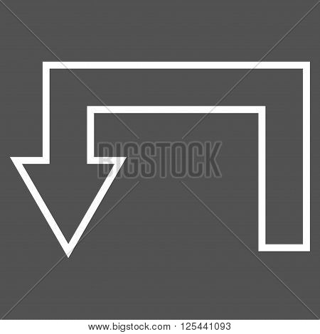 Return Arrow vector icon. Style is thin line icon symbol, white color, gray background.