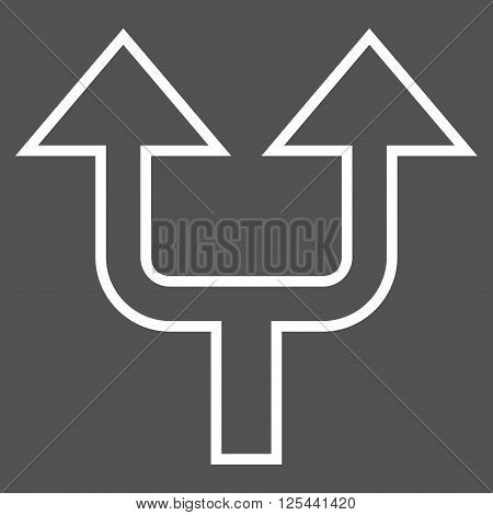 Split Arrow Up vector icon. Style is contour icon symbol, white color, gray background.