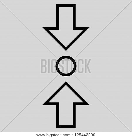 Compress Vertical vector icon. Style is contour icon symbol, black color, light gray background.