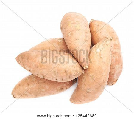 Pile of sweet potato or Ipomoea batatas plants isolated over the white background