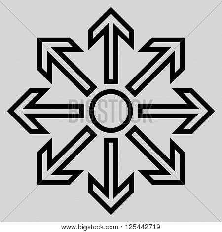 Maximize Arrows vector icon. Style is stroke icon symbol, black color, light gray background.