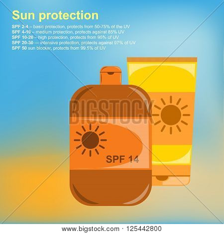 Poster Sunscreens. Vector illustration Description degree of protection of the different SPF. Tubes of sunscreen. Bright, gradient summer background