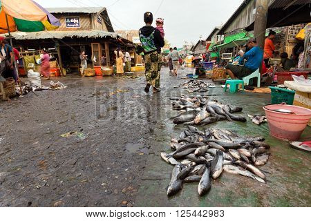 MANDALAY,MYANMAR,JANUARY 19, 2015 : A man is selling fresh fishes on the ground in a dirty and poor street market in Mandalay, Myanmar (Burma).