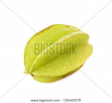 Green Averrhoa carambola starfruit isolated over the white background