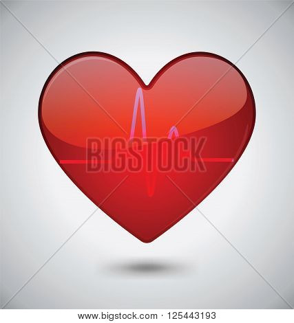 Glossy Heartbeat Vector icon Design, Health Concept