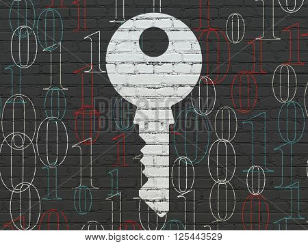 Privacy concept: Key on wall background