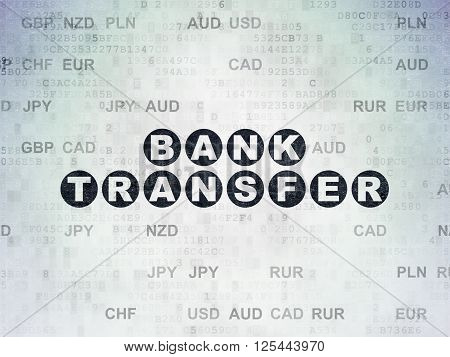 Banking concept: Bank Transfer on Digital Paper background