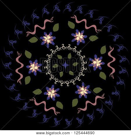 Abstract blurred circular pattern on a black background . Flowers ribbons leaves curlicues . Four colors .