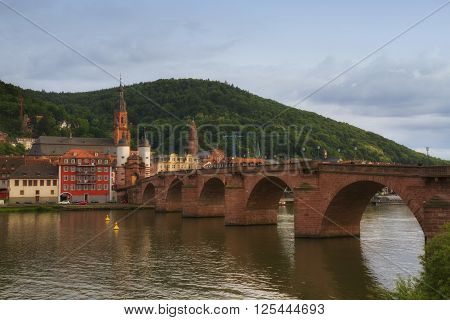 Panoramic View Of The Ruins Of The Heidelberg Castle And Town, Germany From The Neckar River, During