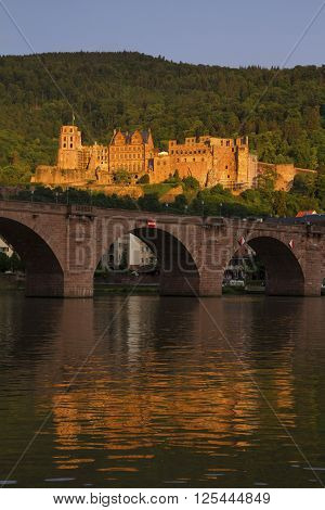 Panoramic View Of The Ruins Of The Heidelberg Castle, Germany From The Neckar River