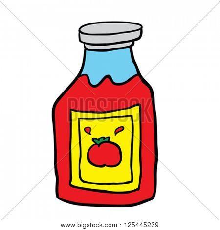 freehand drawn cartoon ketchup bottle
