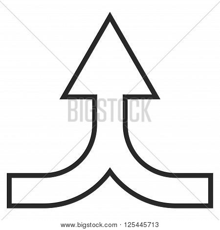 Combine Arrow Up vector icon. Style is outline icon symbol, gray color, white background.