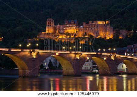 Heidelberg Castle, Germany, Night Lights.