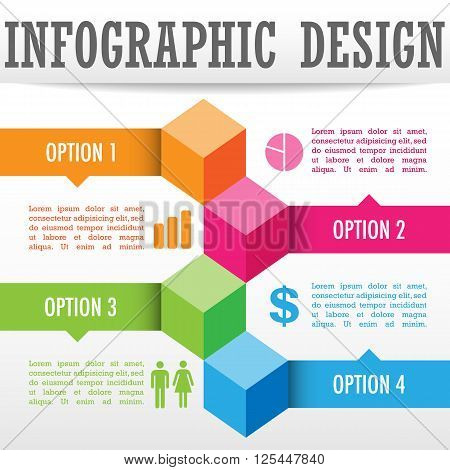 Infographic Background - Infographic cube background design.  Colors are global and file is layered for easy editing.