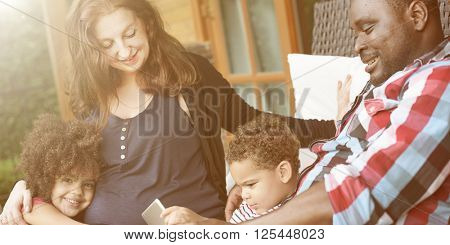 Family Relax Happiness Using Tablet Togetherness Concept