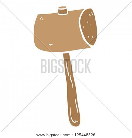 freehand drawn cartoon wooden mallet illustration