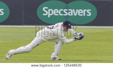 CHELMSFORD, ENGLAND - APRIL 11 2016: Gareth Roderick of Gloucestershire during the Specsavers County Championship match between Essex and Gloucestershire at the County Ground in Chelmsford, England.
