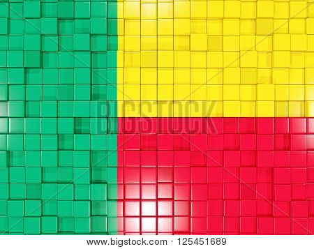 Background With Square Parts. Flag Of Benin. 3D Illustration