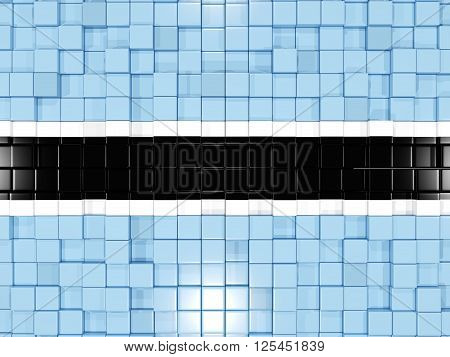 Background With Square Parts. Flag Of Botswana. 3D Illustration