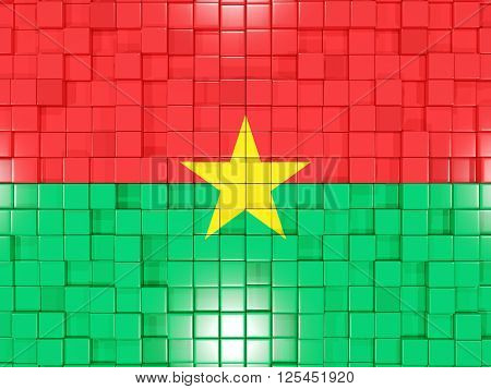Background With Square Parts. Flag Of Burkina Faso. 3D Illustration