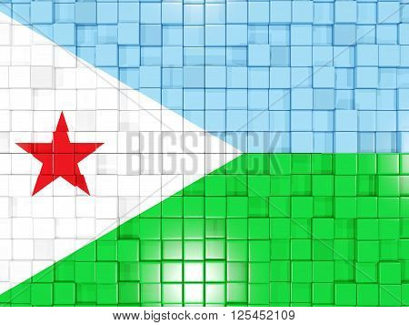 Background With Square Parts. Flag Of Djibouti. 3D Illustration