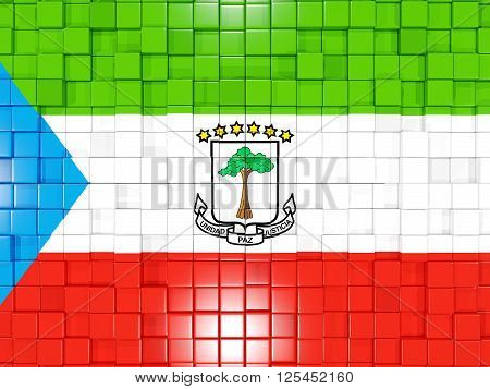 Background With Square Parts. Flag Of Equatorial Guinea. 3D Illustration