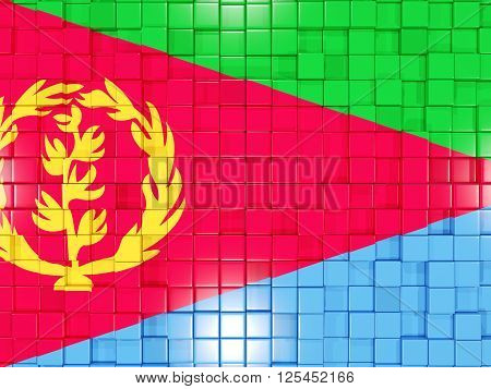 Background With Square Parts. Flag Of Eritrea. 3D Illustration