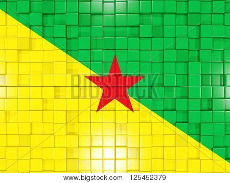 Background With Square Parts. Flag Of French Guiana. 3D Illustration